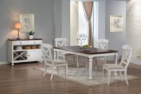 furniture white wooden dining table with dark brown wooden top added by white wooden dining