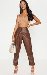 petite chocolate faux leather slim leg pants image 1