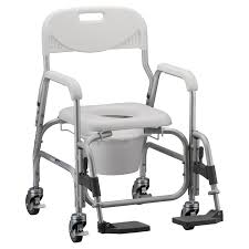 nova medical deluxe shower chair and commode with padded seat and swing away footrest