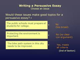 mini workshop writing a persuasive essay assignment choose an would these issues make good topics for a persuasive essay