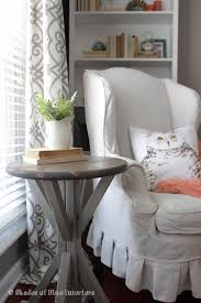 white round end table. What A Perfect Accent For Small Space Where Table Could Be Used! Shades Of Blue Interiors Has Free Plan To Make It Simple And Cheap! White Round End
