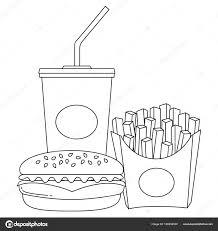 Immagini Poster Broodje Hamburger Bianco E Nero Linea Arte Poster
