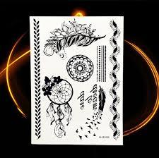 B Top Voděodolné Dočasné Tetování Motiv Lapač Snů černá Glamicz