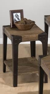diy old chairside table made from reclaimed wood with black metal legs and storage for small living room spaces ideas