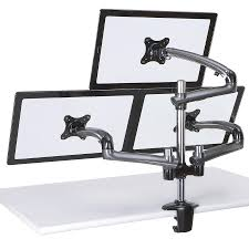 triple monitor desk mount w spring arms dark gray