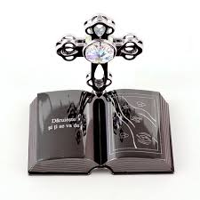 custom engraved cross on crystal figurine christening gifts chrome