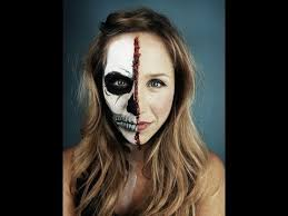 half skeleton half human face makeup tutorial