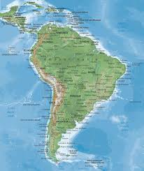 Map Of South America Continent Naturalist Style