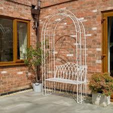wido garden cream arch bench outdoor patio vintage style trellis vintage effect