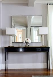 Glossy Black Console Table with Gold Top Transitional Entrancefoyer