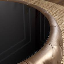 abbyson living havana gold brown leather round coffee table sesigncorp
