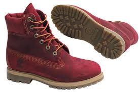 timberland af 6 inch premium womens girls red leather boots lace up 3204r