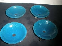 vintage set of 4 bobeche blue glass for chandelier parts 4 in diameter
