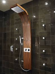 modern shower head recessed bathroom lighting. bathroom charming picture of modern small decoration using black glass tile shower wall including curve wooden head and stand recessed lighting l