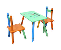 Childrens Solid Wooden Chairs And Table Set Crayon Kids