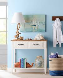 console table with coastal decor