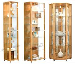 oak display cabinet glass single double corner cabinets with doors