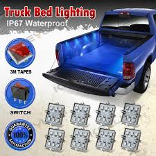 8pc waterproof pickup truck bed light kit led lighting accessories bright blue 602731743111