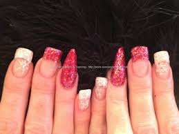 Eye Candy Nails & Training - Red and white glitter tips with ...