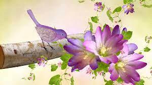 Purple Birds Flowers wallpaper