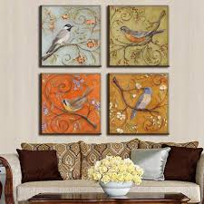 chinese style decor:  pieces set combined oil painting chinese style flower and bird chinese style decor home