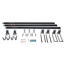 rubbermaid fasttrack garage 12 piece black silver steel storage rail system