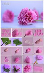 How To Make Rose Flower With Tissue Paper Diy Crepe Paper Rose Flower Tutorial Step By Step Step