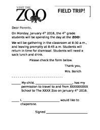 Basic Zoo Field Trip Permission Form By Elementary Teacher 4