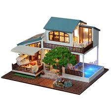 3d wooden puzzle luxury villa diy handmade furnitures miniatures dollhouse building model home desk decoration gift for kids gag gifts for men gag gifts for