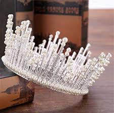 ELEGENCE-Z Wedding <b>Crown</b>, Full Round <b>Crystal</b> Pearl <b>Queen</b> ...