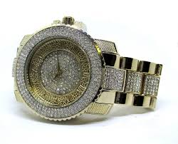 men s iced out faux diamond hiphop bling watch bracelet set gold