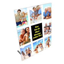 personalised 8 photoessage collage 8 x 10 toughened glass frame with peg stand