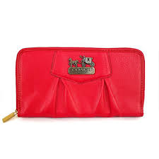 Coach Madison Gathered Logo Large Red Wallets ECT