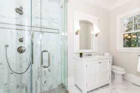 light grey and white bathroom. light grey walls white trim bathroom traditional with cabinets freestanding vanity and r