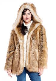 gold fox hooded faux fur jacket 1