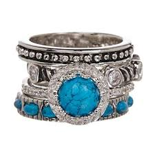 turquoise whole gemstone jewelry stackable ring set size 7 11street msia rings