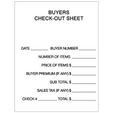 Check Out Sheet 11 Checkout Pad 100 Sheets