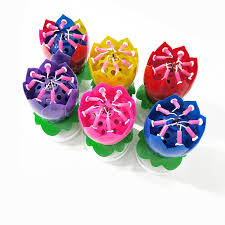 <b>Double Lotus Music</b> Birthday Candle Blossom Rotating Lotus ...