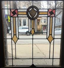 antique stained leaded glass window chicago bungalow 32 by 27 circa 1925