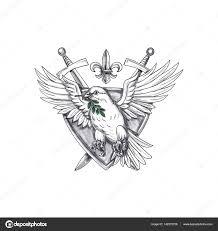 голубь оливковых листьев меч крест тату стоковое фото Patrimonio