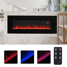 50 built in wall mounted electric fireplace heater multicoloured flame w remote
