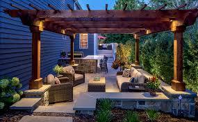 bluestone patio granite retaining wall pergola led lighting