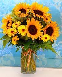 delightful sunflower vase bouquet