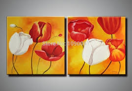 hand painted white and red flowers wall