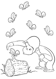 Curious George With Butterfly Coloring Pages Printable Get