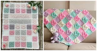 diy crochet heart bubble stitch baby blanket