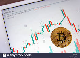 Bitcoin Candlestick Chart Bitcoin Gold Coin And Candlestick Chart Background Stock