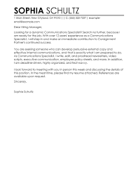 Communication Cover Letter Best Communications Specialist Cover Letter Examples Livecareer