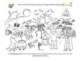 Small Picture Halloween Coloring Page for Kids Graveyard and Monster Scene
