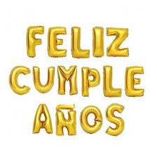 15 Letras Feliz Cumpleaños Globos Metalizados 40cm Colores